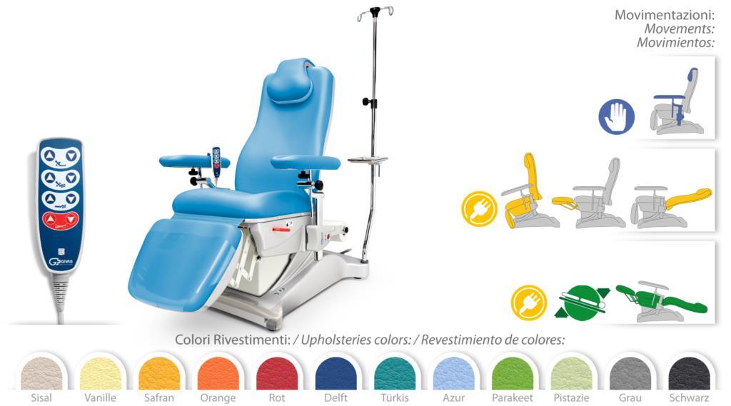 Poltrona prelievi e terapia elettrica ad altezza fissa for Poltrona prelievi